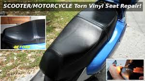 Diy Motorcycle Seat Upholstery Scooter Motorcycle Torn Vinyl Seat Repair Youtube