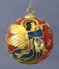 cobalt blue gold cloisonné bell ornament trumpet