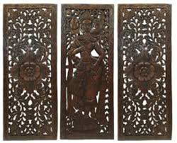 multi panels home decor wood carved floral wall