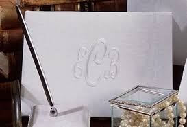 monogrammed wedding guest book white or ivory moire fabric monogrammed guest book and pen set