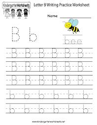 kindergarten letter b writing practice worksheet printable