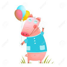 pig balloons adorable baby pig with balloons for kids pig
