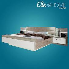 Schlafzimmer Bett Sandeiche Bettanlage Ravello Sandeiche Weiß Hochglanz Mit Beleuchtung