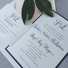 wedding invitations navy modern calligraphy monogram wedding invitations in navy blue