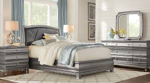 silver bed alexi silver 5 pc queen panel bedroom with chocolate inset queen