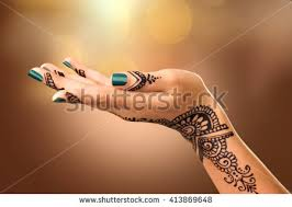 woman hand black mehndi tattoo hand stock photo 413869648
