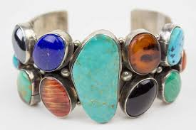 cuff bracelet with stone images Vintage navajo multistone nugget cuff bracelet turquoise village jpg