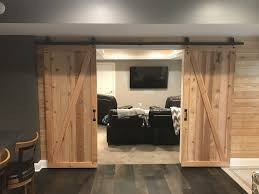basement remodel with barn doors u2013 k o home services