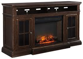 transitional extra large tv stand w fireplace insert by signature