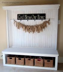 Entryway Bench And Storage Shelf With Hooks Front Entry Bench Bench Organizing And Homemade