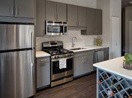 colored kitchen cabinets with stainless steel appliances amli lofts apartments for rent chicago kitchen design