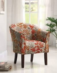 Upholstered Accent Chair Small Accent Chairs With Arms Brown Wooden Chair Using Round Back