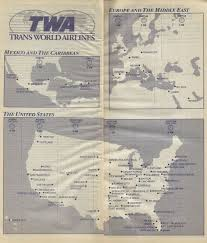 Condor Airlines Route Map by Airline Memorabilia Twa Trans World Airlines 1996