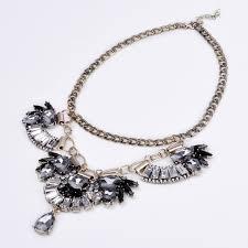 vintage crystal statement necklace images Vintage gold chain white crystal grey black glass flower bib jpg