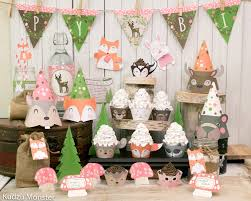 girly pink woodland party printable decor kit fox baby deer