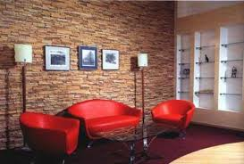 living room and dining room design ideas with black brick wall