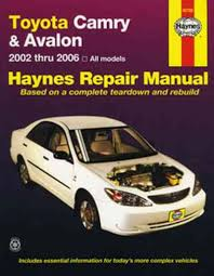 2002 toyota camry service manual toyota camry avalon 2002 2006 haynes service repair manual sagin
