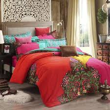 King Size Brushed Cotton Duvet Covers Bohemian Bedding Set 4pcs Winter Warm Boho Bedclothes Moroccan