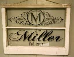 vintage two pane window personalized last by vaughncustomcreation