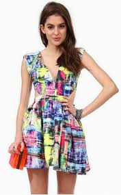 colorful dress dress colorful pink bright color pattern cut out v neck