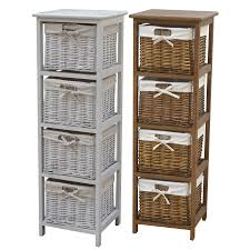 Baskets For Bookshelves Wooden Storage Tallboy With Wicker Baskets In Two Colours Wicker