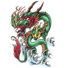 bullseye realistic temporary tattoo oriental dragon made in usa