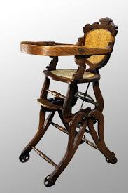 Antique Rocking Chair Prices Antique Victorian Oak Children U0027s High Chair Rocker E N F A N T