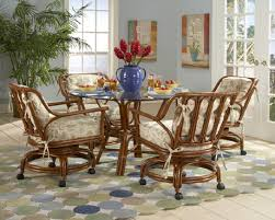 rattan kitchen furniture charleston dining set with 4 caster swivel and tilt chairs