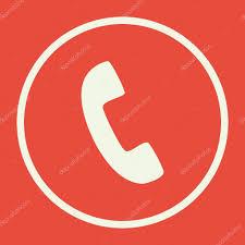 phone icon on red background white circle border white outline