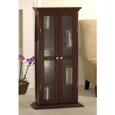 Corner Curio Cabinet Walmart Wood And Glass Dvd Cd Cabinet Walnut Walmart Com
