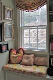 decorations bedroom window seats with storage and grey curtain