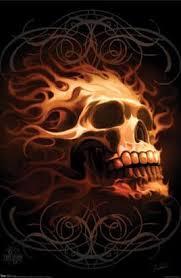 woods flaming skull design
