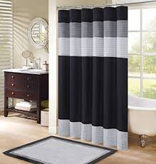 Black And Grey Curtains Comfort Spaces Shower Curtain Black Grey Panel