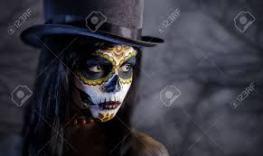 sugar skull in tophat in the forest halloween theme stock