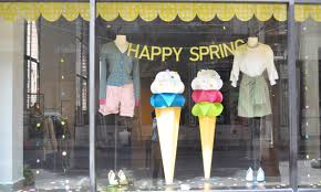 spring window display ideas handcut 3d illustrations by hopscotch design