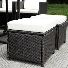 Outdoor Wicker Chair With Ottoman Costway 11 Pcs Outdoor Patio Dining Set Metal Rattan Wicker