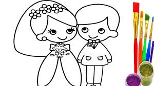 how to draw little bride and groom coloring pages learn colors for