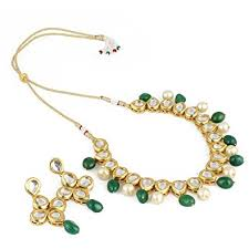green necklace set images Aradhya stylish kundan with green stone and shining beige pearl jpg
