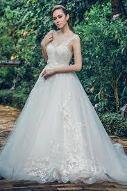 wedding gowns a line v neck chapel tulle wedding dress beading flower ld5712