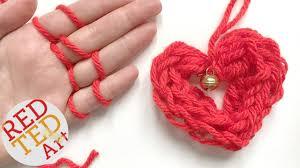 easy finger knitting how to diy heart ornament christmas diys
