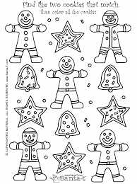 coloring page games christmas gingerbread cookie match activity and coloring page