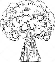 apple tree cartoon for coloring book u2014 stock vector izakowski