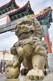 lion foo dog foo dog prosperity lion statue at chinatown gate