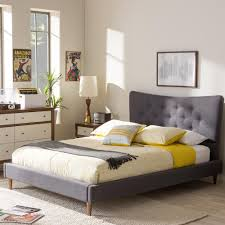 Modern Fabric Furniture by Altos Home Hermosa Gray King Upholstered Bed Alt K6502 Gry The