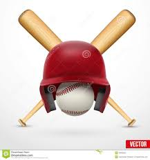 symbol of a baseball helmet ball and two bats vector stock
