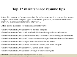 Maintenance Resume Examples by Resume Maintenance Topmaintenance Resume Tips Tester Resume Sample