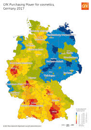 Germany On Map by Map Of The Month Gfk Purchasing Power For Cosmetics Germany 2017