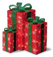 lighted christmas present boxes set of 3 sisal gift boxes lighted christmas