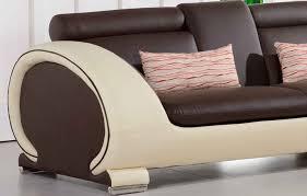 canape d angle 5 places cuir canapé d angle en cuir marron et crème 5 places brava teck in home