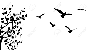 bird flying around a tree branch royalty free cliparts vectors